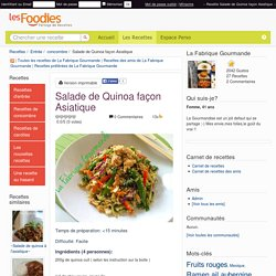 Recette de Salade de Quinoa façon Asiatique