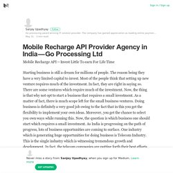 Mobile Recharge API Provider Agency in India — Go Processing Ltd