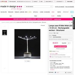 Lampe sans fil Mini Wish LED / H 20 cm - Rechargeable secteur Blanc / Liège - Structures