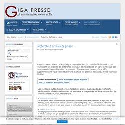 Recherche articles de presse