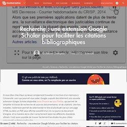 Recherche : une extension Google Scholar pour faciliter les citations bibliographiques - Sciences