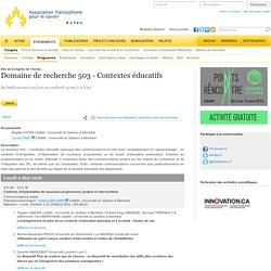 Domaine de recherche 503 - Contextes éducatifs