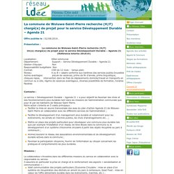 La commune de Woluwe-Saint-Pierre recherche (H/F) chargé(e) de projet pour le service Développement Durable – Agenda 21
