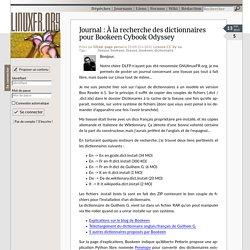 À la recherche des dictionnaires pour Bookeen Cybook Odyssey