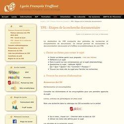 TPE : Etapes de la recherche documentaire - Lycée François Truffaut