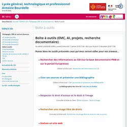 Boîte à outils (EMC, AI, projets, recherche documentaire) - Boîte à outils - Lycée Antoine Bourdelle