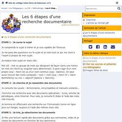 Les 6 étapes d'une recherche documentaire - Site du collège Jules Férry de Gémozac (17) - Pédagogie - Académie de Poitiers