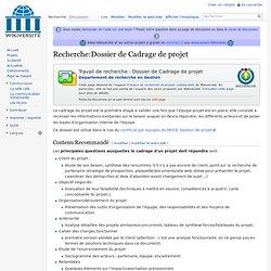 Recherche:Dossier de Cadrage de projet