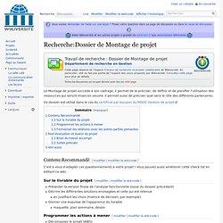 Recherche:Dossier de Montage de projet