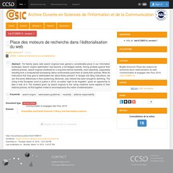 Place des moteurs de recherche dans l'éditorialisation du web