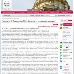 Projet de loi de finances pour 2015 : Recherche et enseignement supérieur