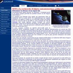SETI à la recherche d'objets extraterrestres articiels