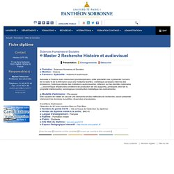 Master 2 Recherche Histoire et audiovisuel