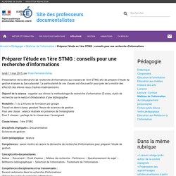 Préparer l'étude en 1ère STMG : conseils pour une recherche d'informations