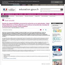 Remise du rapport ATHENA concernant la recherche sur la radicalisation : Najat Vallaud-Belkacem et Thierry Mandon vont renforcer le transfert des résultats de la recherche pour éclairer l'action publique
