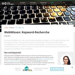 Keyword-Recherche - Die richtigen Keywords finden