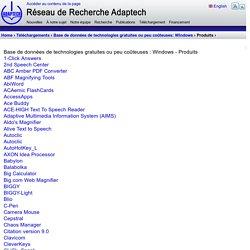 Base de données de technologies gratuites ou peu coûteuses : Windows - Produits