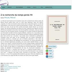 À la recherche du temps perdu VII - Proust, Marcel - Télécharger