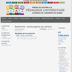 Recherche : serious game; jeu sérieux