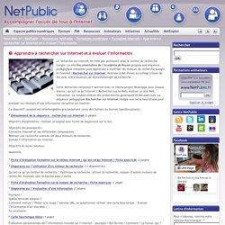 Apprendre à rechercher sur Internet et à évaluer l'information