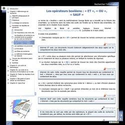 Les opérateurs booléens : «ET», «OU», «SAUF»