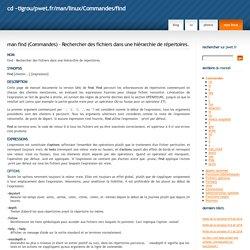 man find - Rechercher des fichiers dans une hiérarchie de répertoires. / Commandes