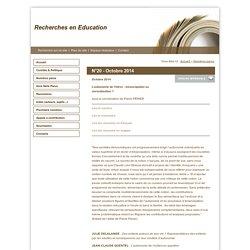 Recherches en Education - N°20 - Octobre 2014