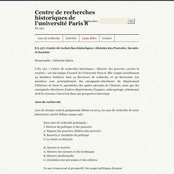 Centre de recherches historiques : Histoire des Pouvoirs, Savoirs et Sociétés (Paris 8)