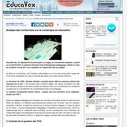 Analyse des recherches sur le numérique en éducation