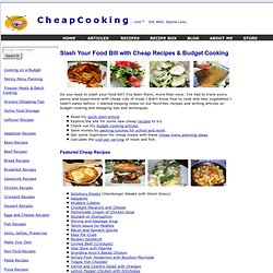 CheapCooking.com: Cheap Quick Easy Recipes for your Family, Cheap Healthy Recipes, Grocery List on a Budget
