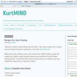 KurtMIND: Recipes For Juice Fasting