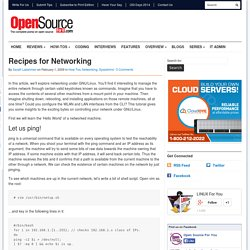 Recipes for Networking