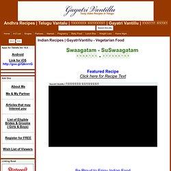 Andhra Recipes - Gayatri Vantillu (Gayatrivantillu - Andhra Telu