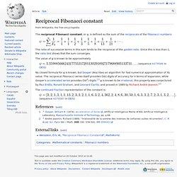 Reciprocal Fibonacci constant
