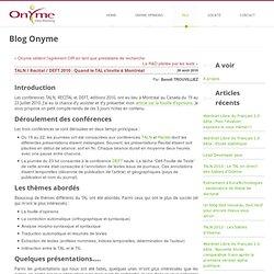 TALN / Recital / DEFT 2010 : Quand le TAL s'invite à Montréal