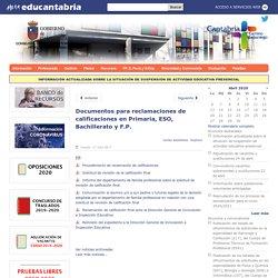 Documentos para reclamaciones de calificaciones en Primaria, ESO, Bachillerato y F.P.