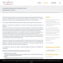Les bons principes de traitement des réclamations client - Infoqualité