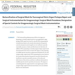 Reclassification of Surgical Mesh for Transvaginal Pelvic Organ Prolapse Repair and Surgical Instrumentation for Urogynecologic Surgical Mesh Procedures; Designation of Special Controls for Urogynecologic Surgical Mesh Instrumentation