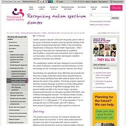Recognising autism spectrum disorder