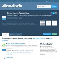 Simon Speech Recognition Alternatives and Similar Software