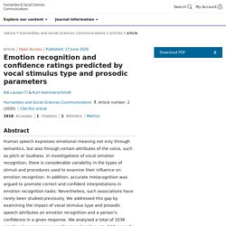 Emotion recognition and confidence ratings predicted by vocal stimulus type and prosodic parameters