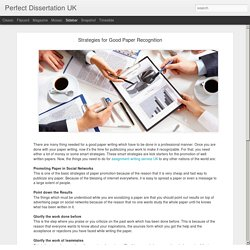 Perfect Dissertation UK: Strategies for Good Paper Recognition