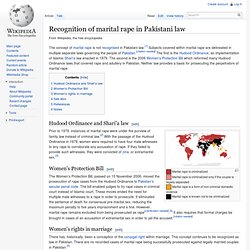 Recognition of marital rape in Pakistani law