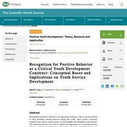 Recognition for Positive Behavior as a Critical Youth Development Construct: Conceptual Bases and Implications on Youth Service Development
