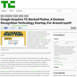 Google Acquires YC-Backed Flutter, A Gesture Recognition Technology Startup, For Around $40M