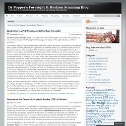 Dr Popper's Foresight & Horizon Scanning Blog