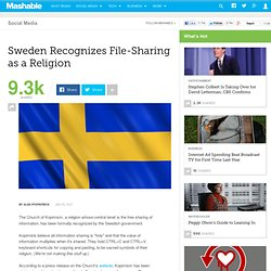 Sweden Recognizes File-Sharing as a Religion