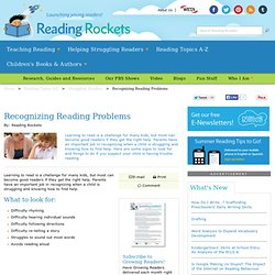 Recognizing Reading Problems