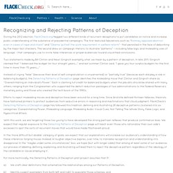 Recognizing and Rejecting Patterns of Deception - Politics