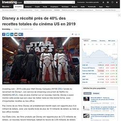 Disney a récolté près de 40% des recettes totales du cinéma US en 2019 Par Investing.com